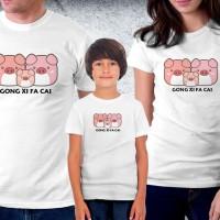 Baju Couple family - Kaos imlek - Cute family pig