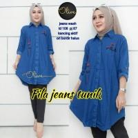 baju atasan wanita/blouse/blouse murah/tunik/tunik jeans cantik/fila