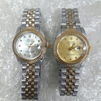 jam tangan wanita rolex oyster date just kombinasi gold