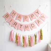 Balonasia Banner Ulang Tahun Happy Birthday Pink Gold Fancy