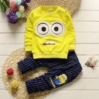 Setelan baju anak lelaki minion 3 4 5 tahun murah mata kuning kid tv