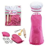 Deluxe Chef Set Pink Apron/celemek Topi Koki 11pcs Mainan Anak