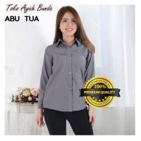 Baju Blouse Polos Atasan Kerja Lengan Panjang Murah Wanita Kekinian - Hitam