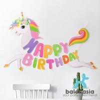 Banner Balonasia Banner Unicorn Shape Lucu Ulang Tahun Anak