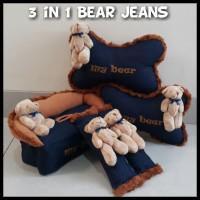 Bantal Jok Mobil 3 in 1 Bear Jeans Set Bantal Mobil Murah Lucu