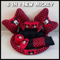 Bantal Mobil Mickey Mouse 6 in 1 Set Bantal Mobil Murah Lucu