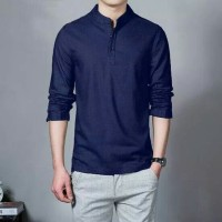Baju Kemeja Ham Hamish Navy Fashion Pria Formal Casual Koko Panjang