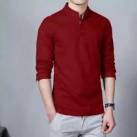 Baju Kemeja Ham Hamish Maron Fashion Pria Formal Casual Koko Panjang