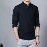 Baju Kemeja Ham Hamish Black Fashion Pria Formal Casual Koko Panjang