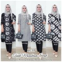 Batik tunik monokrom serut - Baju atasan batik wanita modern