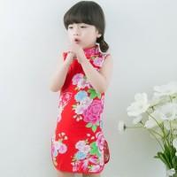 Cheongsam Anak Katun Murah Baju Imlek Dress Anak Remaja Baju Merah