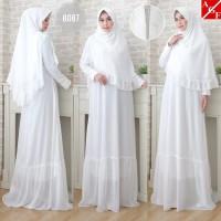 Baju Gamis Putih Wanita / Baju Umroh / Gamis Syari / Syari Pesta #8087