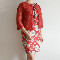 343 Dress atasan cewek wanita Batik Merah dengan bolero brukat 3 warna