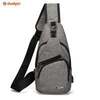 Tas Selempang Canvas USB Port Charger Smart Bag Ransel Pria Travel