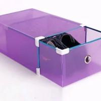 DP kotak sepatu transparan model laci silver frame