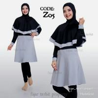 baju wanita renang muslimah syari dewasa baju renang hijab syar i - Biru, M