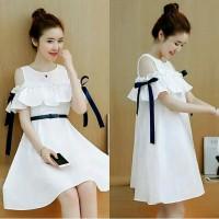 dress remaja -dress kekinian-dress putih modern-atasan baju wanita