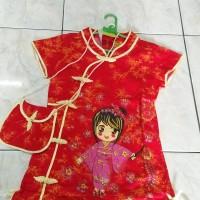Dress imlek merah anak perempuan gambar perempuan AN n463 B SD remaja