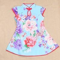 Cheongsam Katun Bunga Dress Anak Remaja Baju Imlek Murah Bagus Grosir