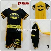 Baju Setelan Pendek Kostum Anak Karakter Superhero BATMAN