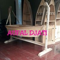 Ayunan anak tempat tidur bayi box baby bandulan perahu kayu jati