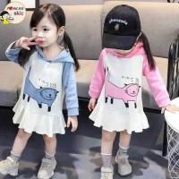 baju bayi dress hoddie anak perempuan motif kucing lucu for baby girl