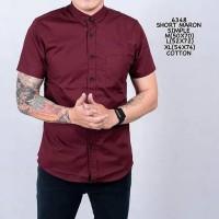 Plain maroon Shirt merah polos kemeja pendek hem pria lelaki laki cowo