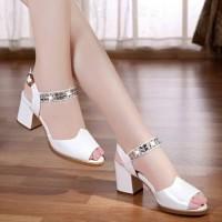 Sandal Wanita High Heels Hak Tahu Permata SDH168 Putih