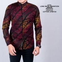 Baju Kemeja Batik Songket Gradasi Pria Lengan Panjang Slimfit Casual