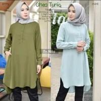 tunik kemeja polos baju muslim atasan blouse hem shirt wanita santai