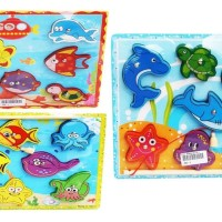 Mainan Edukasi Anak - Puzzle Kayu Chunky Memancing Ikan Mancing Fish