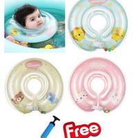 Mambo Baby Swim Neck Ring (Free Pompa), Ban Renang Anak - Blue / Lime