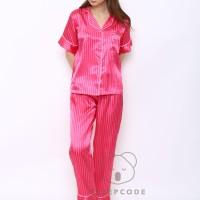 Sleepcode Victoria Piyama Satin Garis Garis Pajamas Baju Tidur Wanita