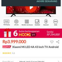 XIAOMI MI LED 4A 43 INCH FULL HD TV ANDROID MURAH CUMA 3,825JUTA - Hitam, MI TV 4 43 INCH