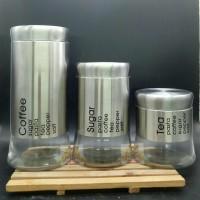 Toples Set 3pc / 3pc Jar set - Tempat Kopi Gula Teh - Toples Kue 1861B