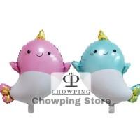 Balon Foil karakter Animal Binatang Ikan Paus Whale Tanduk Lucu