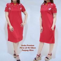 Jillian Cheongsam Dress / Gaun Pesta Wanita Red Merah Imlek CNY Scuba