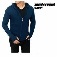 Sweater Hoodie Kardigan Ariel Cotton Navy Zipper Fashion Baju Pria