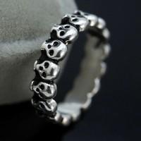 Cincin tengkorak Pria Wanita cincin gothic punk stainless steel