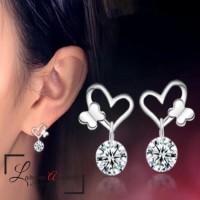 Anting Wanita Titanium Model Love Butterfly Kristal Crystal Anti Karat