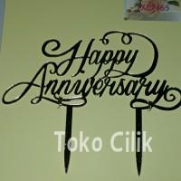 Topper/tusukan/aryclic/arkilik/happy anniversary/jadi/dekor/kue/cake/t