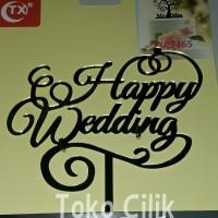 Topper/tusukan/aryclic/arkilik/happy wedding/sambung/dekor/kue/cake