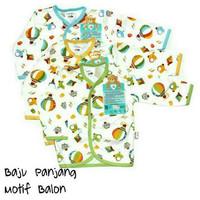 LIBBY Baju Kancing Depan Lengan Panjang Bayi Motif Balon - 3-6 Bulan, Kuning