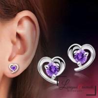 Anting Wanita Titanium Model Love Kristal Crystal Anti Karat & Alergi