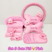 Set Hemat Aksesoris Mobil 6 in 1 Bantal Mobil Cute PIG Pink
