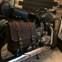 ready stok tas royal enfield , side bag leather ,tas motor kulit