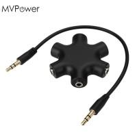 AUX 6WAY SPLITTER Male To 5 Female Audio Earphone 3.5mm Jack Splitter