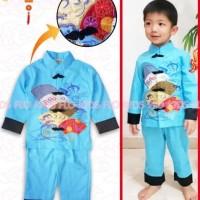 Baju Imlek Cheongsam Qipao Samfu Boy Anak Laki Light Blue Fan FK93-H