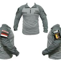 combat shirt 1 set - kaos tactical velcro - baju army military
