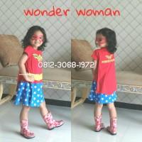 Baju Dress Kostum Superhero Girl Anak Perempuan WONDER WOMAN 6-9 Tahun